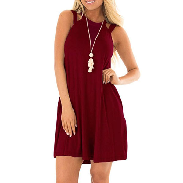 POPYOUNG Red Women's Casual Tank Dress Racerback Sleeveless Short Dresses with Pockets
