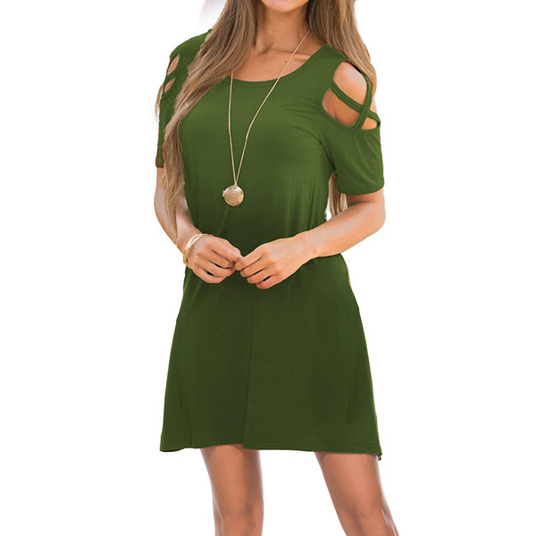 POPYOUNG Green Womens Dresses Summer Strappy Cold Shoulder Swing T-Shirt Loose Dress with Pockets
